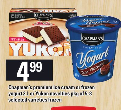 Chapman's Premium Ice Cream Or Frozen Yogurt 2 L Or Yukon Novelties Pkg Of 5-8
