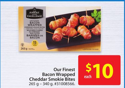 Our Finest Bacon Wrapped Cheddar Smokie Bites