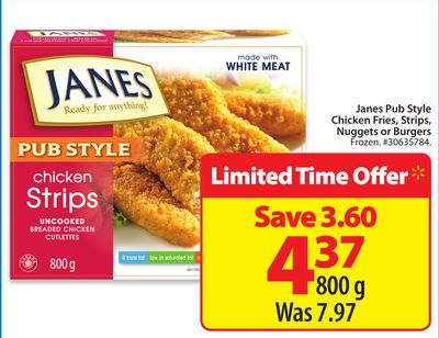 Janes Pub Style Chicken Fries - Strips - Nuggets or Burger