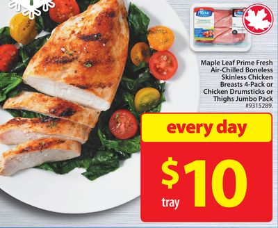 Maple Leaf Prime Fresh Air-chilled Boneless Skinless Chicken Breasts 4-pack or Chicken Drumsticks or Thighs Jumbo Pack