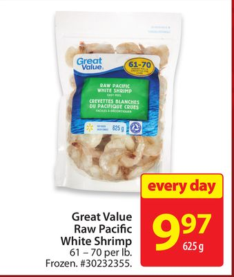 Great Value Raw Pacific White Shrimp