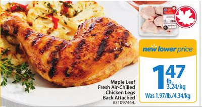 Maple Leaf Fresh Air-chilled Chicken Legs Back Attached