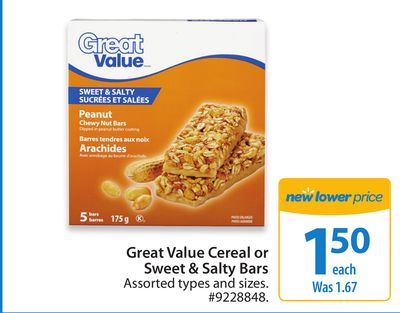 Great Value Cereal or Sweet & Salty Bars