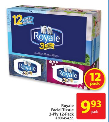 Royale Facial Tissue 3-ply 12-pack