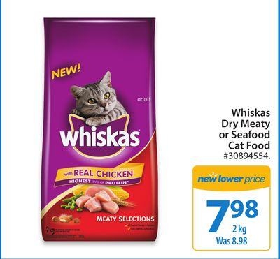 Whiskas Dry Meaty or Seafood Cat Food