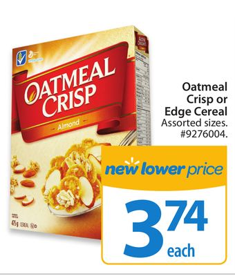 Oatmeal Crisp or Edge Cereal