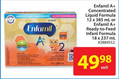 Enfamil A+ Concentrated Liquid Formula 12 X 385 mL or Enfamil A+ Ready-to-feed Infant Formula 18 X 237 mL