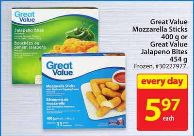 Great Value Mozzarella Sticks 400 or Great Value Jalapeno Bites 454 g
