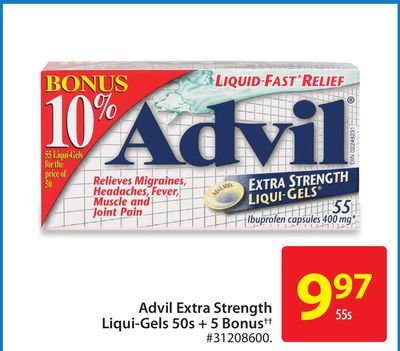 Advil Extra Strength Liqui-gels 50s + 5 Bonus