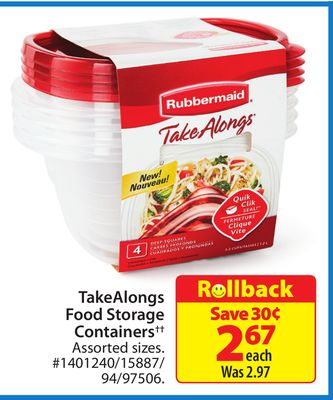 Rubbermaid Takealongs Food Storage Containers