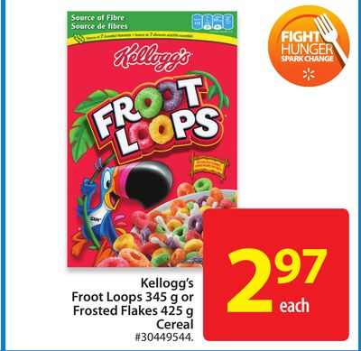 Kellogg's Froot Loops 345 g or Frosted Flakes 425 g Cereal