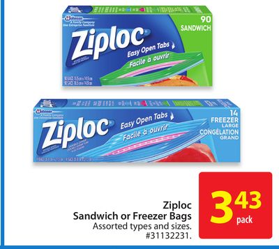 Ziploc Sandwich or Freezer Bags