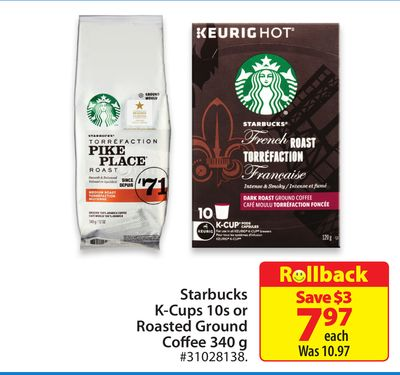 Starbucks K-cups 10s or Roasted Ground Coffee