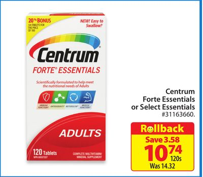 Centrum Forte Essentials or Select Essentials
