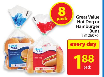 Great Value Hot Dog or Hamburger Buns