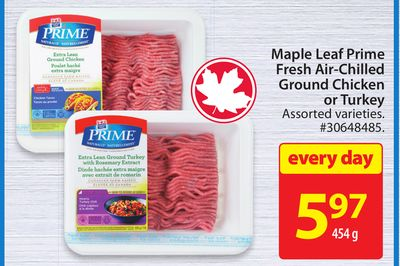 Maple Leaf Prime Fresh Air-chilled Ground Chicken or Turkey
