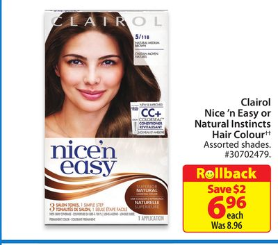 Clairol Nice 'N Easy or Natural Instincts Hair Colour