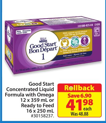 Nestle Good Start Concentrated Liquid Formula With Omega 12 X 359 mL or Ready To Feed 16 X 250 mL