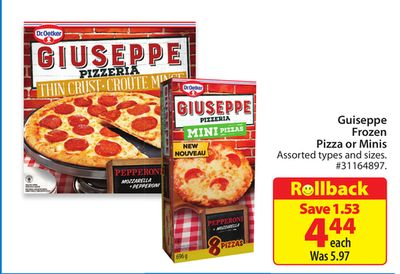 Guiseppe Frozen Pizza or Minis