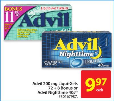 Advil 200 Mg Liqui-gels 72 + 8 Bonus or Advil Nighttime 40s