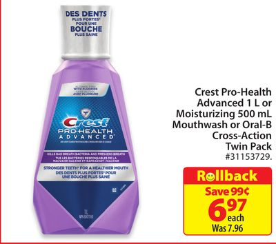Crest Pro-health Advanced 1 L or Moisturizing 500 mL Mouthwash or Oral-B Cross-action Twin Pack