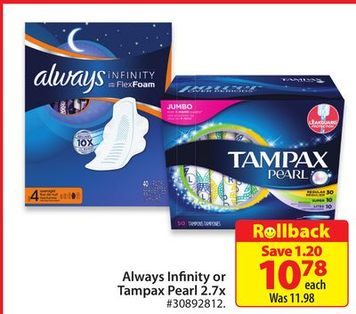 Always Infinity Or Tampax Pearl 2.7 X
