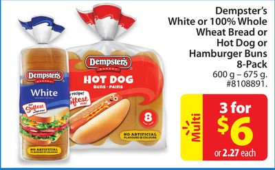 Dempster's White or 100% Whole Wheat Bread or Hot Dog or Hamburger Buns