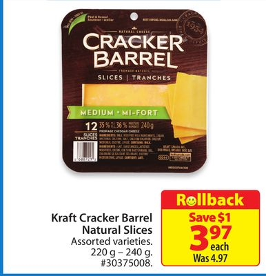 Kraft Cracker Barrel Natural Slices