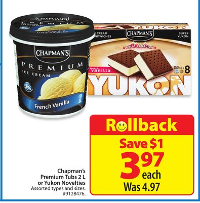 Chapman's Premium Tubs 2 L or Yukon Novelties
