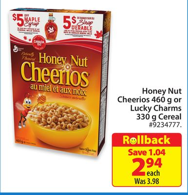 Honey Nut Cheerios 460 g or Lucky Charms 330 g Cereal