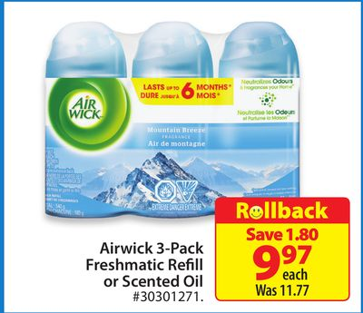 Airwick 3-pack Freshmatic Refill or Scented Oil