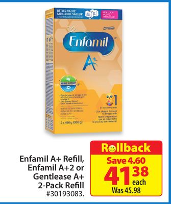 Enfamil A+ Refill - Enfamil A+2 or Gentlease A+ 2-pack Refill