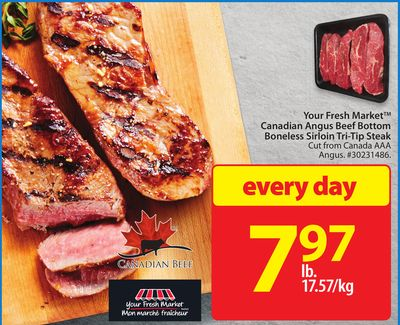 Your Fresh Market Canadian Angus Beef Bottom Boneless Sirloin Tri-tip Steak