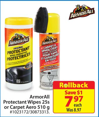 Armorall Protectant Wipes 25s or Carpet Aero 510 g