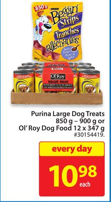 Purina Large Dog Treats 850 g – 900 g or Ol'roy Dog Food 12 X 347 g