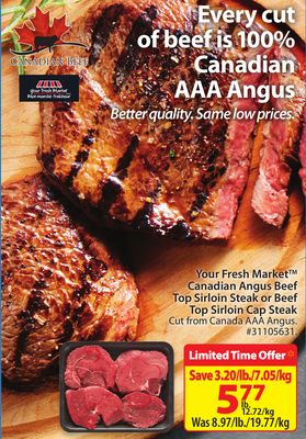 Your Fresh Market Canadian Angus Beef Top Sirloin Steak or Beef Top Sirloin Cap Steak