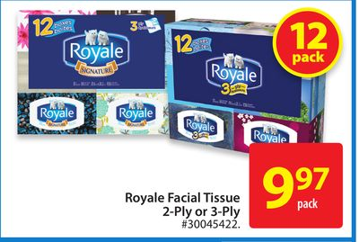 Royale Facial Tissue 2-ply or 3-ply