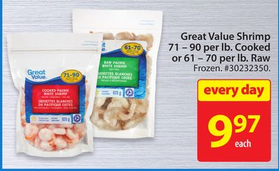 Great Value Shrimp 71 - 90 Per Lb. Cooked or 61 - 70 Per Lb. Raw