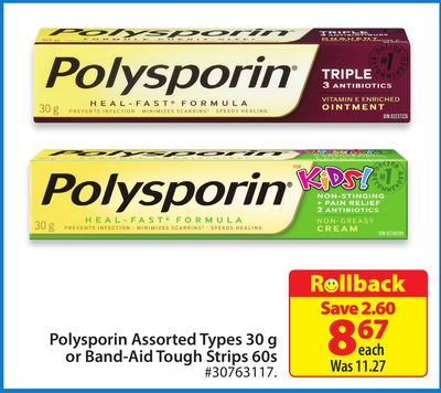 Polysporin Assorted Types 30 g or Band-aid Tough Strips 60s