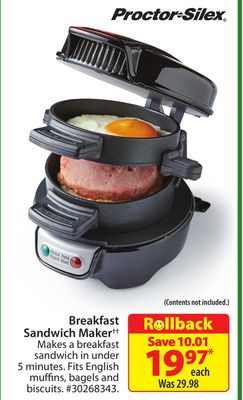 Proctor Silex Breakfast Sandwich Maker‡‡