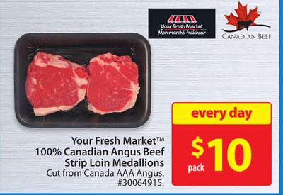 Your Fresh Market 100% Canadian Angus Beef Strip Loin Medallions