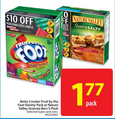 Betty Crocker Fruit By The Foot Variety Pack or Nature Valley Granola Bars 5-pack