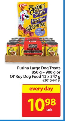 Purina Large Dog Treats 850 g - 900 g or Ol' Roy Dog Food 12 X 347 g