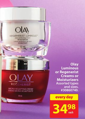 Olay Luminous or Regenerist Creams or Moisturizers