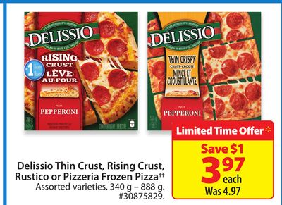 Delissio Thin Crust - Rising Crust - Rustico or Pizzeria Frozen Pizza