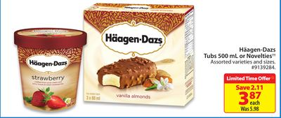 Häagen-dazs Tubs 500 mL or Novelties
