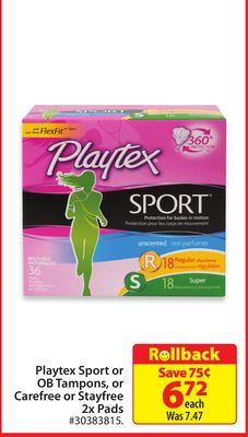 Playtex Sport or Ob Tampons - or Carefree or Stayfree 2x Pads
