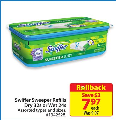 Swiffer Sweeper Refills Dry 32s or Wet 24s