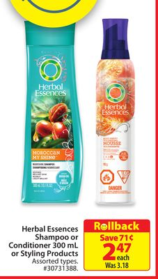 Herbal Essences Shampoo or Conditioner 300 mL or Styling Products