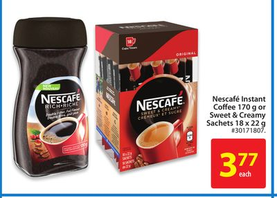 Nescafe Instant Coffee 170 g or Sweet & Creamy Sachets 18 X 22 g